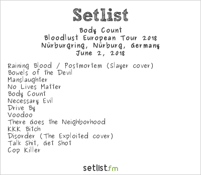 Body Count Setlist Rock am Ring 2018, Bloodlust European Tour 2018