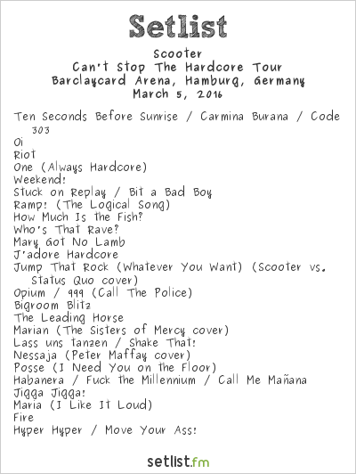 Scooter Setlist Barclaycard Arena, Hamburg, Germany 2016, Can't Stop The Hardcore Tour
