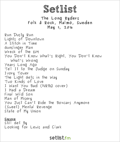 The Long Ryders Setlist Folk å Rock, Malmö, Sweden 2016