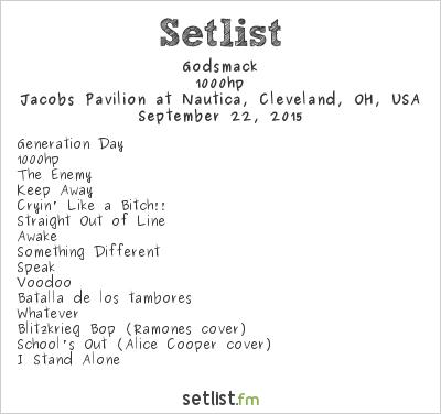Godsmack Setlist Jacobs Pavilion at Nautica, Cleveland, OH, USA 2015