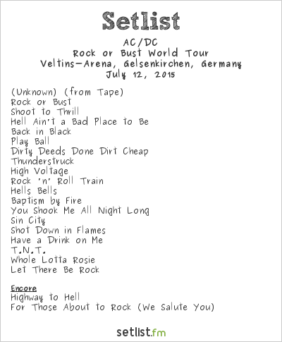 AC/DC Setlist Veltins-Arena, Gelsenkirchen, Germany 2015, Rock or Bust World Tour