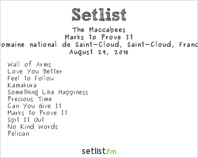 The Maccabees Setlist Rock en Seine 2015 2015, Marks to Prove It