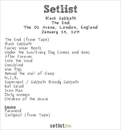 Black Sabbath Setlist The O2 Arena, London, England 2017, The End