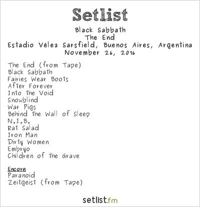 Black Sabbath Setlist Estadio Vélez Sarsfield, Buenos Aires, Argentina 2016, The End
