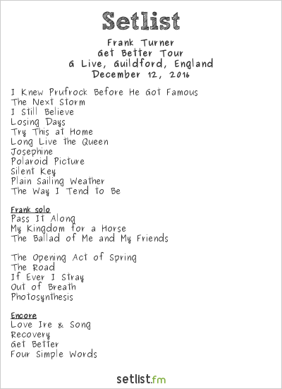 Frank Turner Setlist G Live, Guildford, England 2016, Get Better Tour