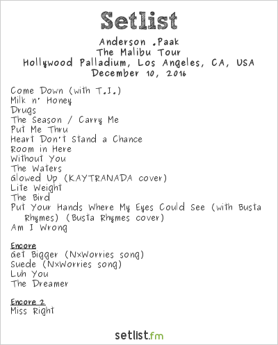 Anderson .Paak Setlist Hollywood Palladium, Hollywood, CA, USA 2016, The Malibu Tour