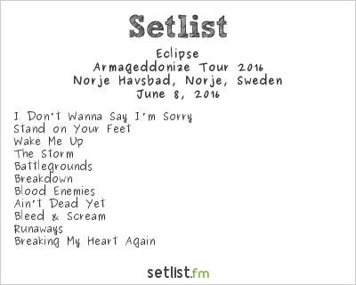 Eclipse Setlist Sweden Rock Festival 2016 2016