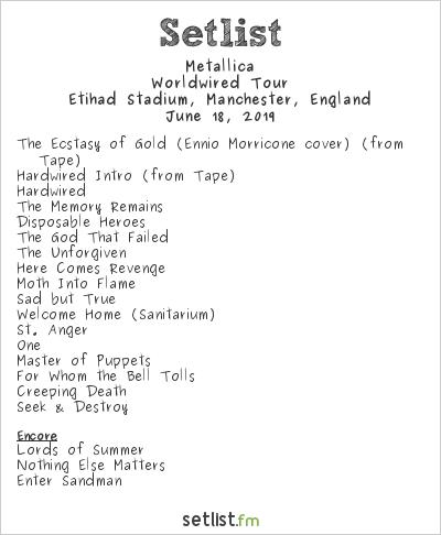 Metallica Setlist Etihad Stadium, Manchester, England 2019, Worldwired Tour