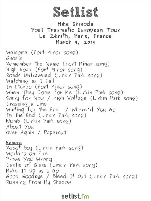 Mike Shinoda Setlist Le Zénith, Paris, France 2019, Post Traumatic European Tour