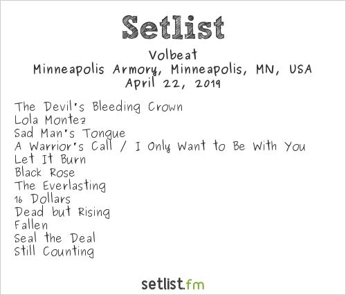 Volbeat Setlist Minneapolis Armory, Minneapolis, MN, USA 2019
