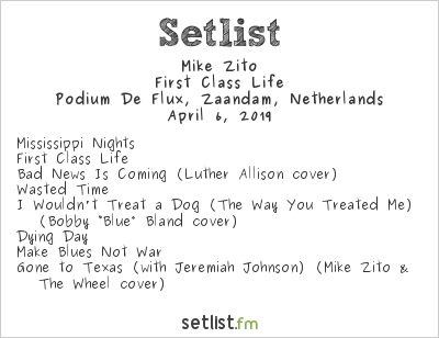 Mike Zito Setlist Podium De Flux, Zaandam, Netherlands 2019, First Class Life Tour