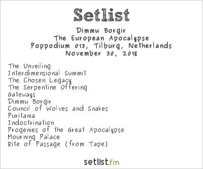 Dimmu Borgir Setlist Poppodium 013, Tilburg, Netherlands 2018, The European Apocalypse
