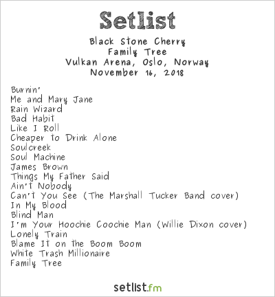 Black Stone Cherry Setlist Vulkan Arena, Oslo, Norway 2018, Family Tree