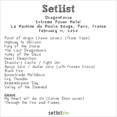 DragonForce Setlist La Machine du Moulin Rouge, Paris, France 2020, Extreme Power Metal