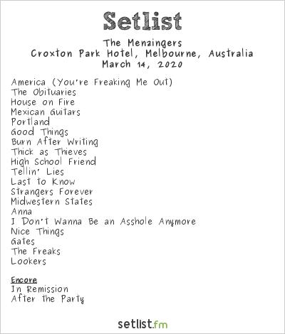 The Menzingers Setlist Croxton Park Hotel, Melbourne, Australia 2020