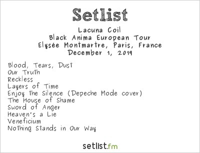 Lacuna Coil Setlist Élysée Montmartre, Paris, France 2019, Black Anima European Tour