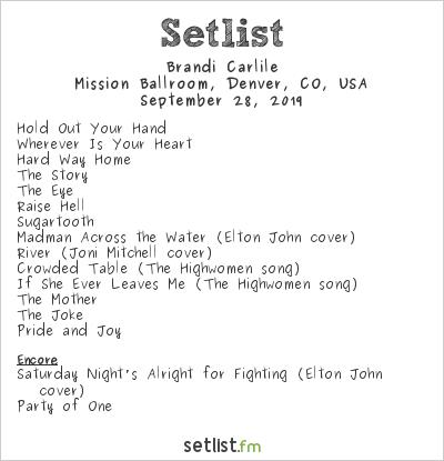 Brandi Carlile Setlist Mission Ballroom, Denver, CO, USA 2019