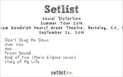 Social Distortion at William Randolph Hearst Greek Theatre, Berkeley, CA, USA Setlist
