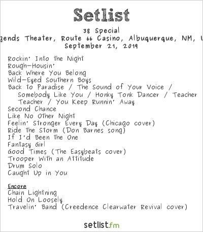 38 Special at Legends Theater, Route 66 Casino, Albuquerque, NM, USA Setlist