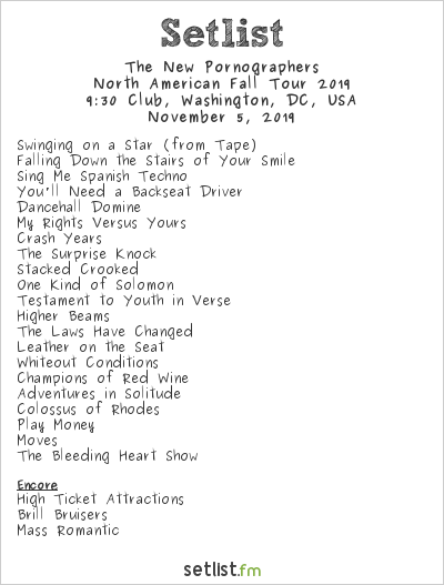 The New Pornographers Setlist 9:30 Club, Washington, DC, USA 2019
