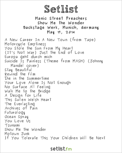 Manic Street Preachers Setlist Backstage Werk, Munich, Germany 2014, Pre-Futurology