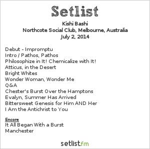 Kishi Bashi Setlist Northcote Social Club, Melbourne, Australia 2014