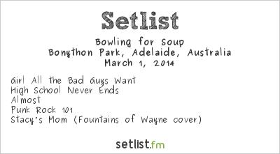 Bowling for Soup Setlist Soundwave Adelaide 2014 2014