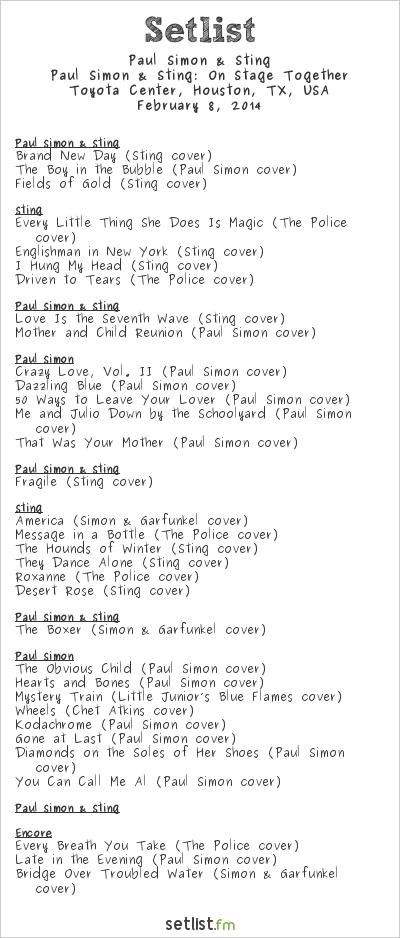 Paul Simon Setlist Toyota Center, Houston, TX, USA 2014