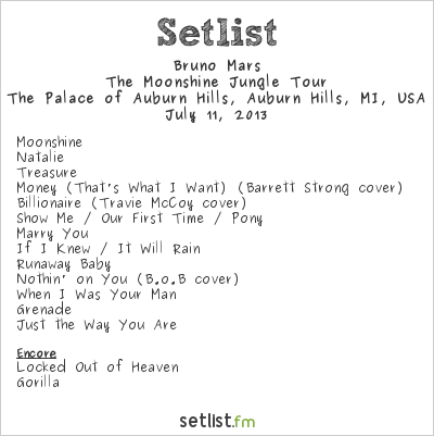 Bruno Mars Setlist The Palace of Auburn Hills, Auburn Hills, MI, USA 2013