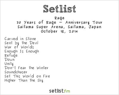 Rage Setlist Loud Park 2014 2014, 30 Years of Rage - Anniversary Tour