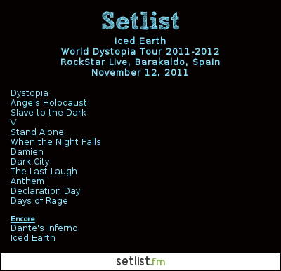 Iced Earth Setlist Rockstar Live, Bilbao, Spain 2011, World Dystopia Tour 2011-2012