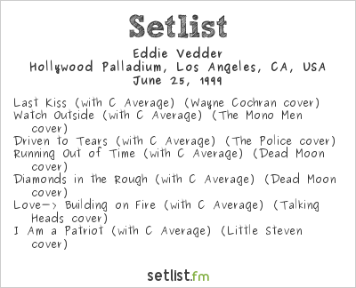 Eddie Vedder Setlist Hollywood Palladium, Los Angeles, CA, USA 1999