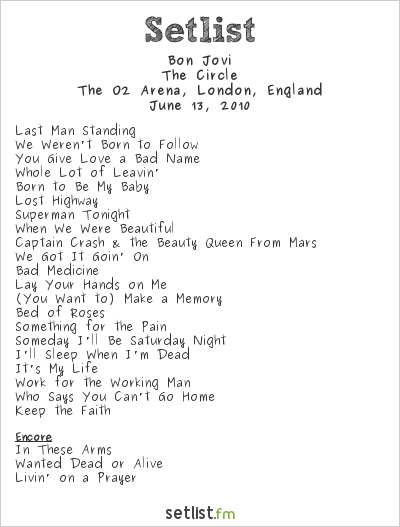 Bon Jovi Setlist O2 Arena, London, England 2010