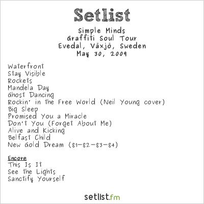 Simple Minds Setlist www.vaxjorockfestival.se, Växjö, Sweden 2009, Graffiti Soul Tour