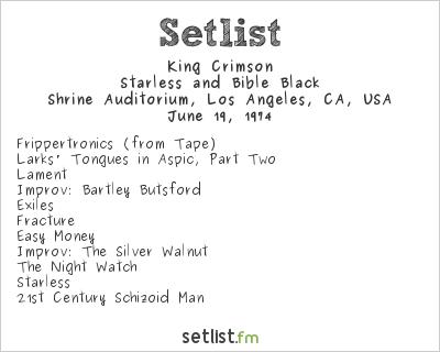 King Crimson at Shrine Auditorium, Los Angeles, CA, USA Setlist
