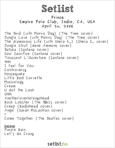 Prince Setlist Coachella Festival 2008 2008