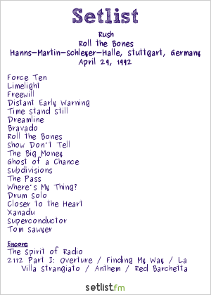 Rush Setlist Hanns-Martin-Schleyer-Halle, Stuttgart, Germany 1992, Roll the Bones