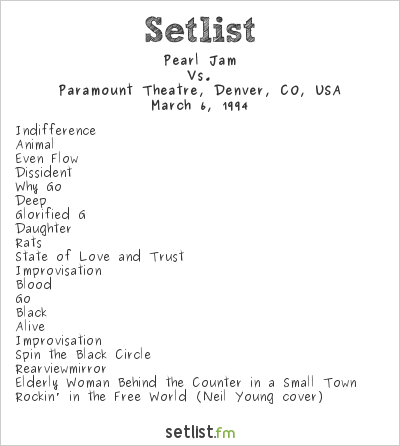 Pearl Jam Setlist Paramount Theatre, Denver, CO, USA 1994, Vs.