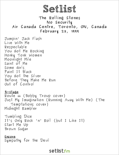 The Rolling Stones Setlist Air Canada Centre, Toronto, ON, Canada 1999, No Security