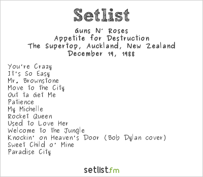 Guns N' Roses at Big Top, Auckland, New Zealand Setlist