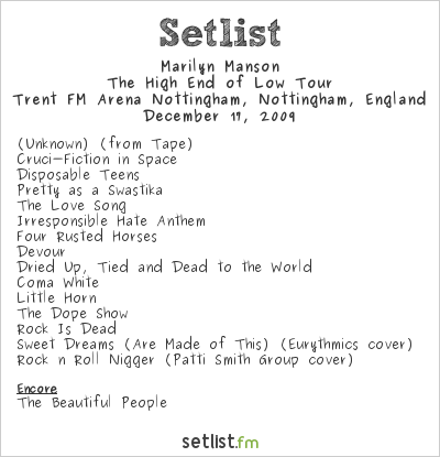 Marilyn Manson Setlist Trent FM Arena, Nottingham, England 2009, The High End of Low European Tour