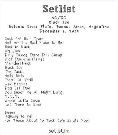 AC/DC Setlist Estadio River Plate, Buenos Aires, Argentina 2009, Black Ice