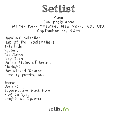 Muse Setlist Walter Kerr Theatre, New York, NY, USA 2009, Resistance Promo Tour