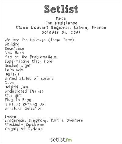 Muse Setlist Stade Couvert Régional, Liévin, France 2009, Resistance European Arena Tour