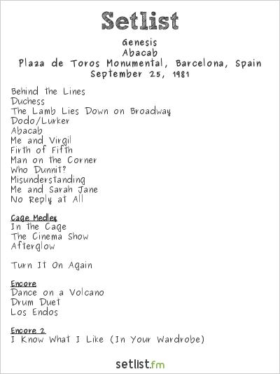 Genesis Setlist Plaza de Toros Monumental, Barcelona, Spain 1981, Abacab