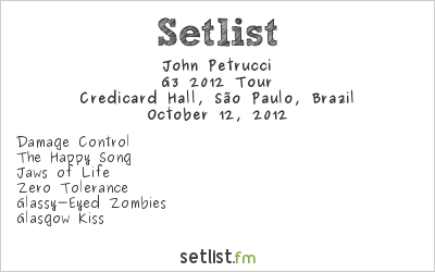 John Petrucci Setlist Credicard Hall, São Paulo, Brazil, G3 South American Tour 2012