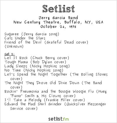 Jerry Garcia Band Setlist New Century Theater, Buffalo, NY, USA 1975
