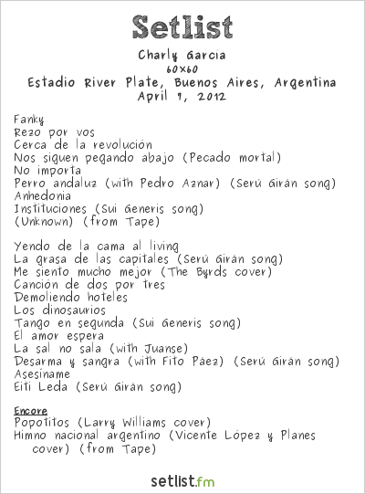 Charly García Setlist Quilmes Rock 2012 2012