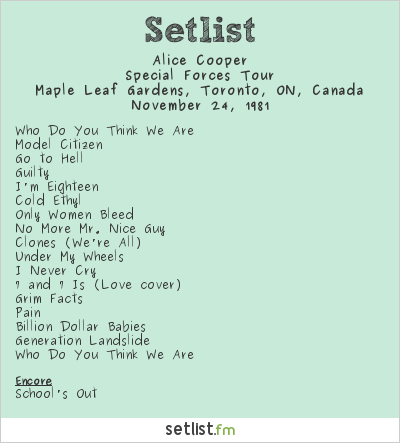 Alice Cooper Setlist Maple Leaf Gardens, Toronto, ON, Canada 1981, Special Forces Tour
