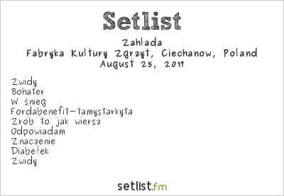 Zahlada at Fabryka Kultury Zgrzyt, Ciechanów, Poland Setlist